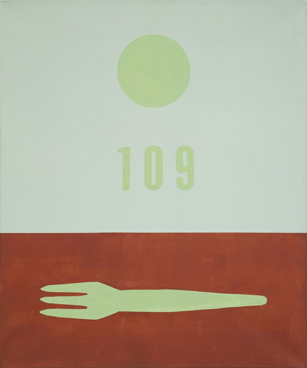 French fries fork #109,  60 x 50cm, acrylic on canvas, 2001