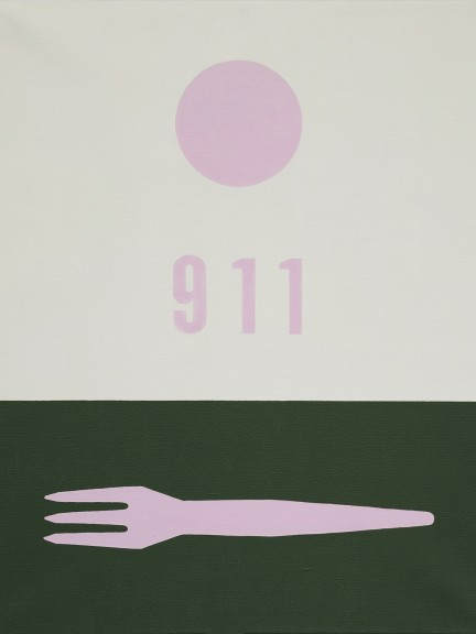 French fries fork #911 (pink), 60 x 50 cm, acrylic on canvas, 2001