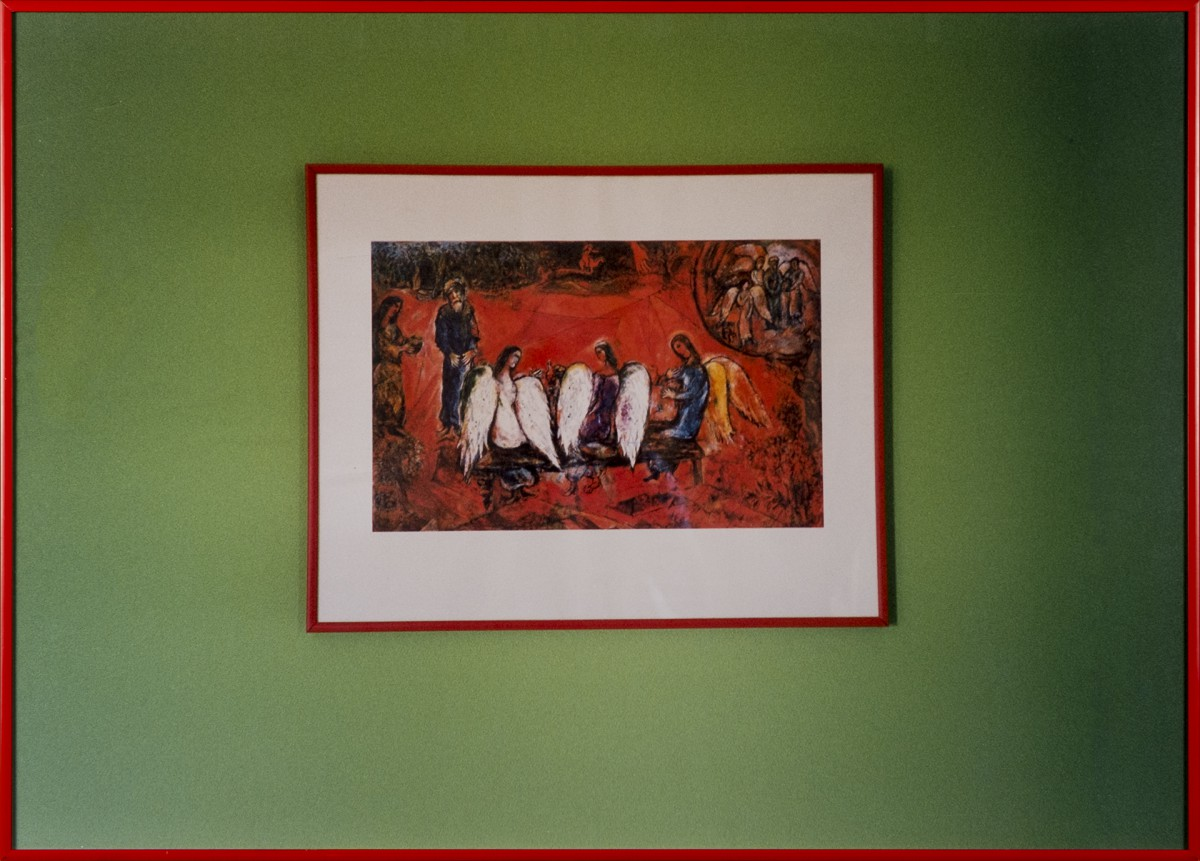 Abraham and three Angels, Chagall, 2003 Chromogenic print, glass, metal frame, 50,5 x 70,5 cm